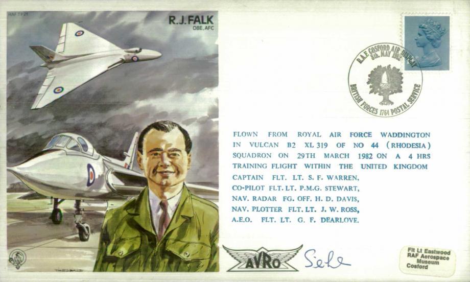 R J Falk the Test Pilot cover Sgd S F Warren