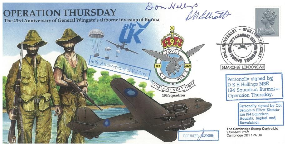 Operation Thursday cover Sgd D E H Hellings B Elliott
