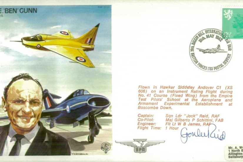 A E Ben Gunn The Test Pilot Cover Signed Crew