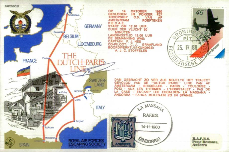 Dutch-Paris Line cover Sgd pilot