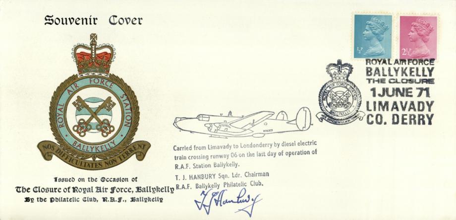Closure of RAF Ballykelly cover Sgd T J Hanbury
