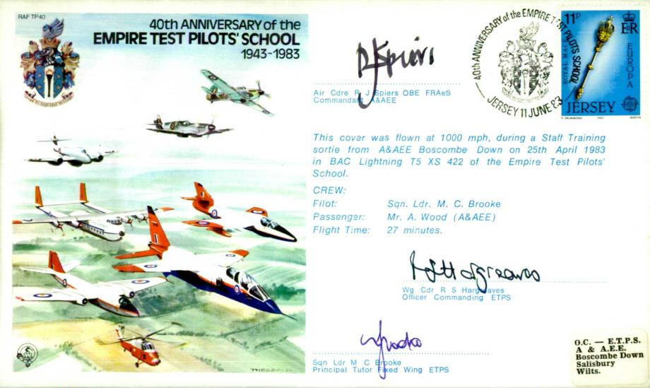 Empire Test Pilots School cover Sgd R J Spiers R S Hargreaves and M C Brooke