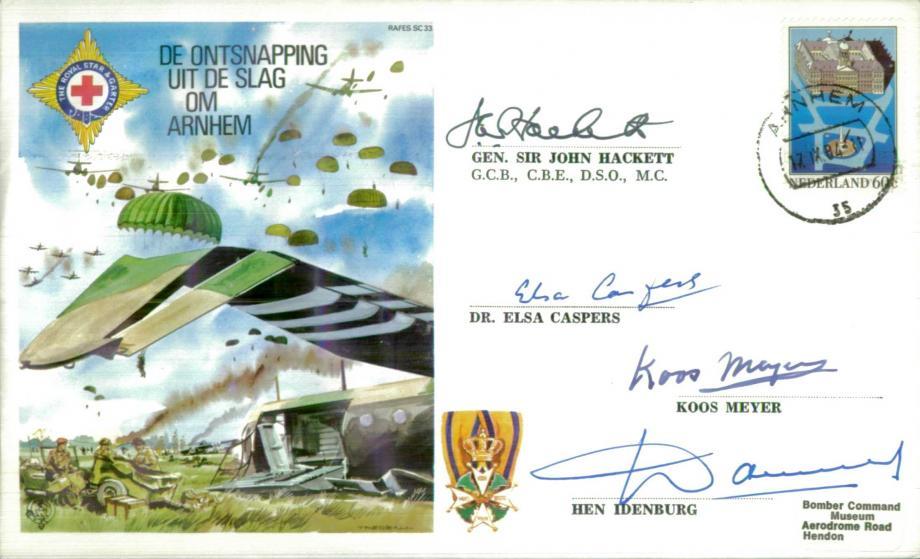 Arnhem cover Sgd Gen Sir J Hackett and 3 Resistance members