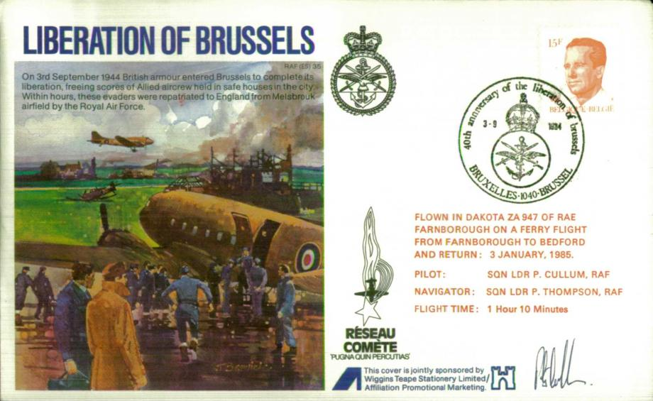 Liberation of Brussels cover Sgd pilot L P Cullum