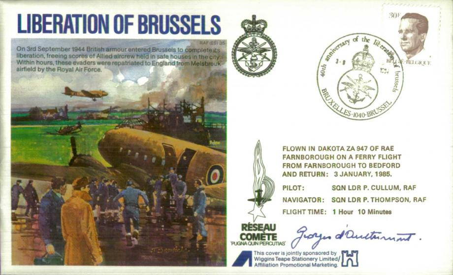 Liberation of Brussels cover Sgd Le Comte Georges d'Ouetremont of the Comete Line