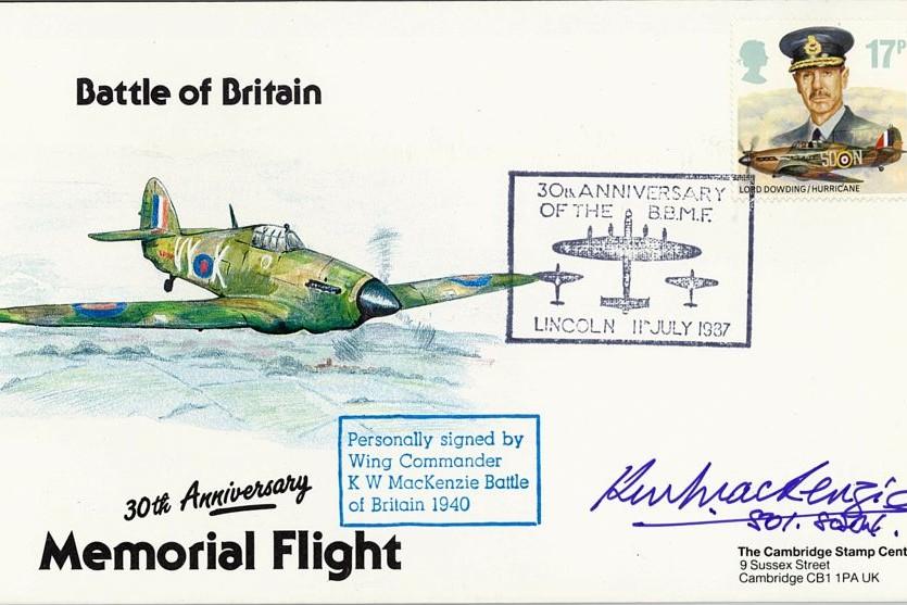 Battle Of Britain Cover Signed BoB Pilot K W MacKenzie