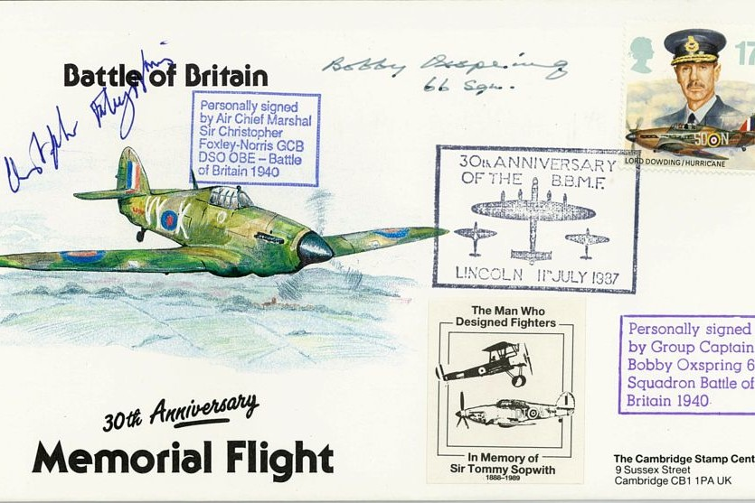 Battle Of Britain Cover Signed BoB Pilots C Foxley-Norris And Bobby Oxspring