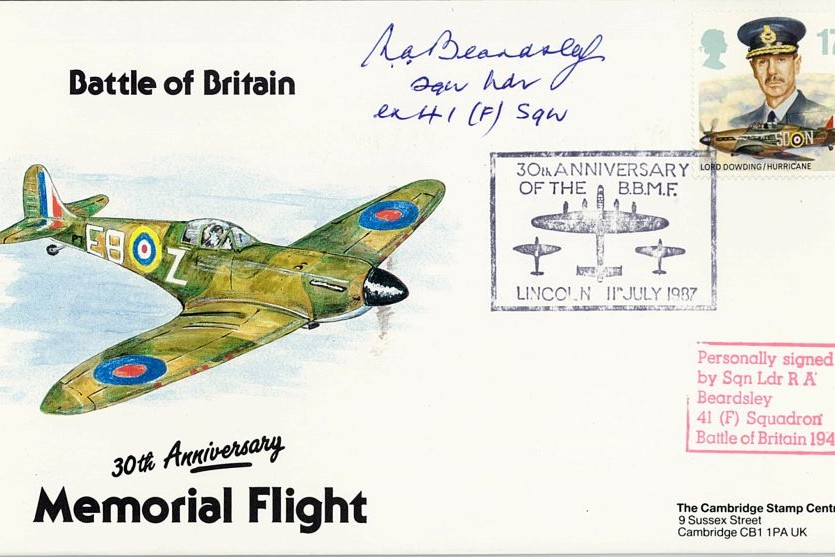 Battle Of Britain Cover Signed BoB Pilot R A Beardsley