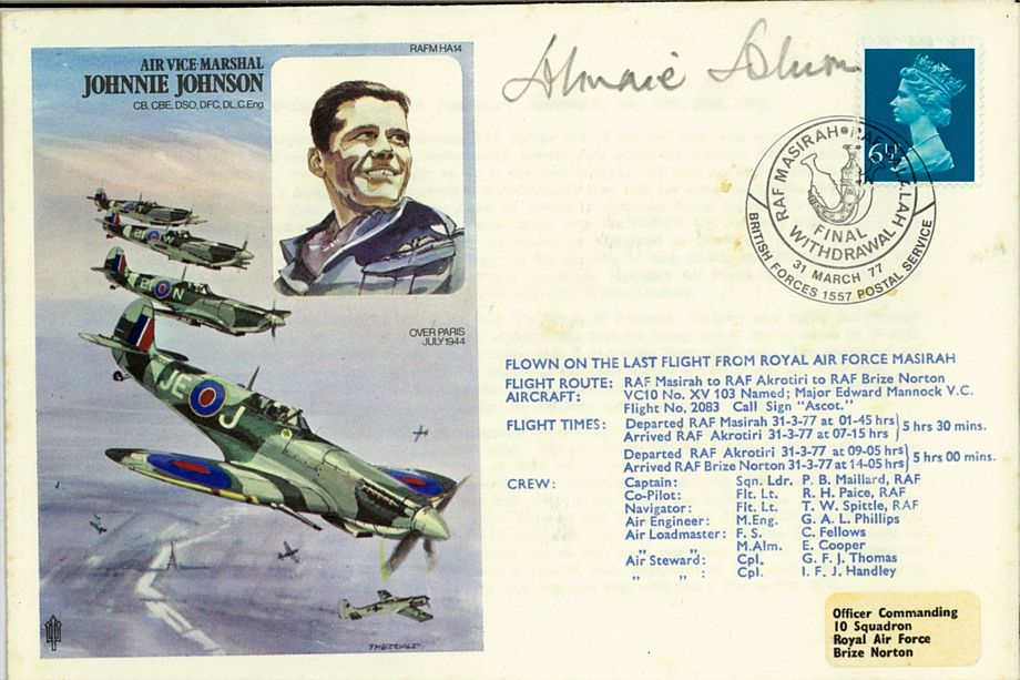 Air Vice Marshall Johnnie Johnson Cover Signed Johnnie Johnson