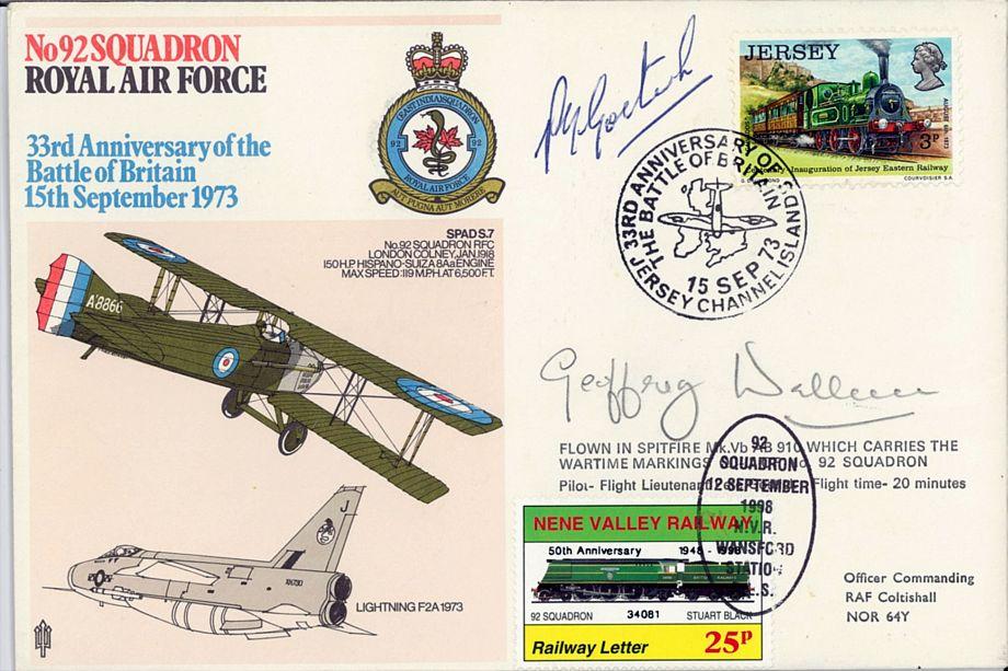 92 Squadron Cover Signed G H A Wellum BoB Pilot