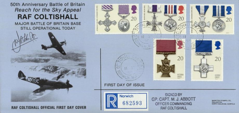 RAF Coltishall FDC 11 Sep 1990 Sgd OC M J Abbott