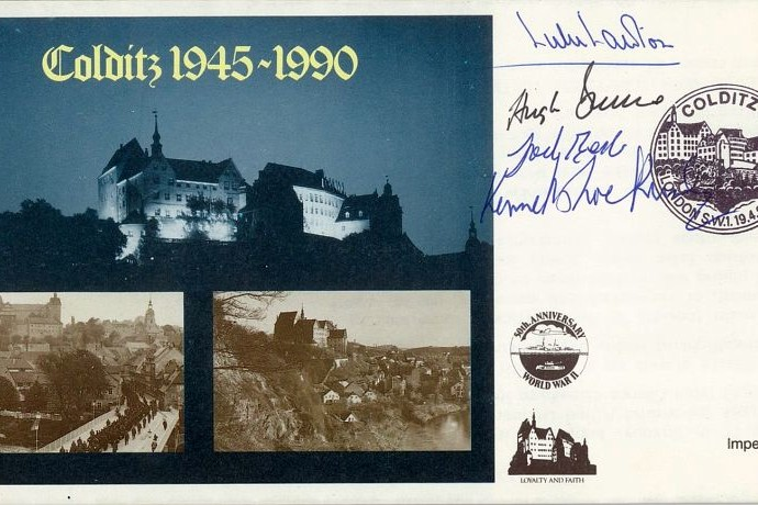 Colditz Cover Signed 4 Prisoners Best Allan Lawton And Bruce