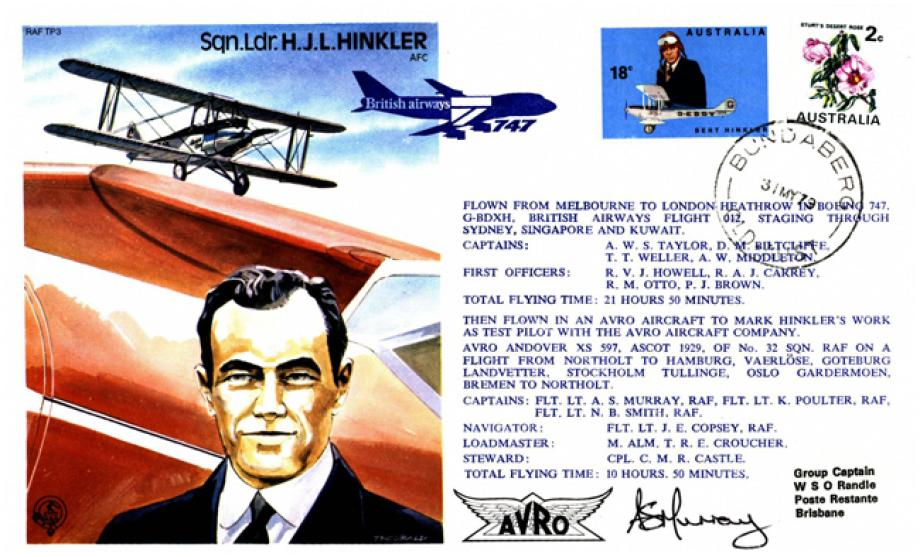 H J L Hinkler the Test Pilot cover Sgd Captain A S Murray