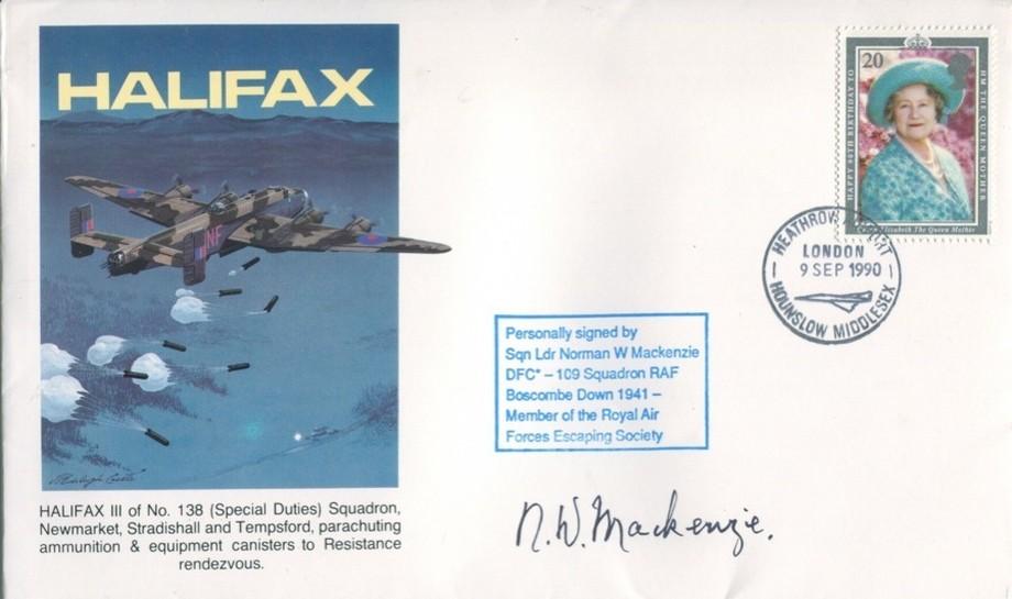 Halifax cover Sgd Escapee N W Mackenzie of 109 Sq