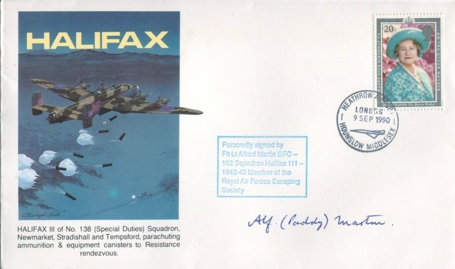 Halifax cover Sgd Alf Paddy Martin of 102 Sq