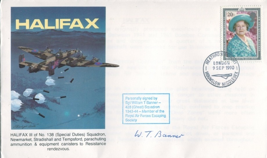 Halifax cover Sgd W T Banner of 428 Sq