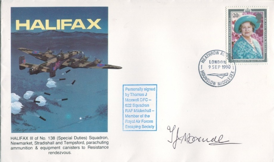 Halifax cover Sgd T J Maxwell of 622 Sq