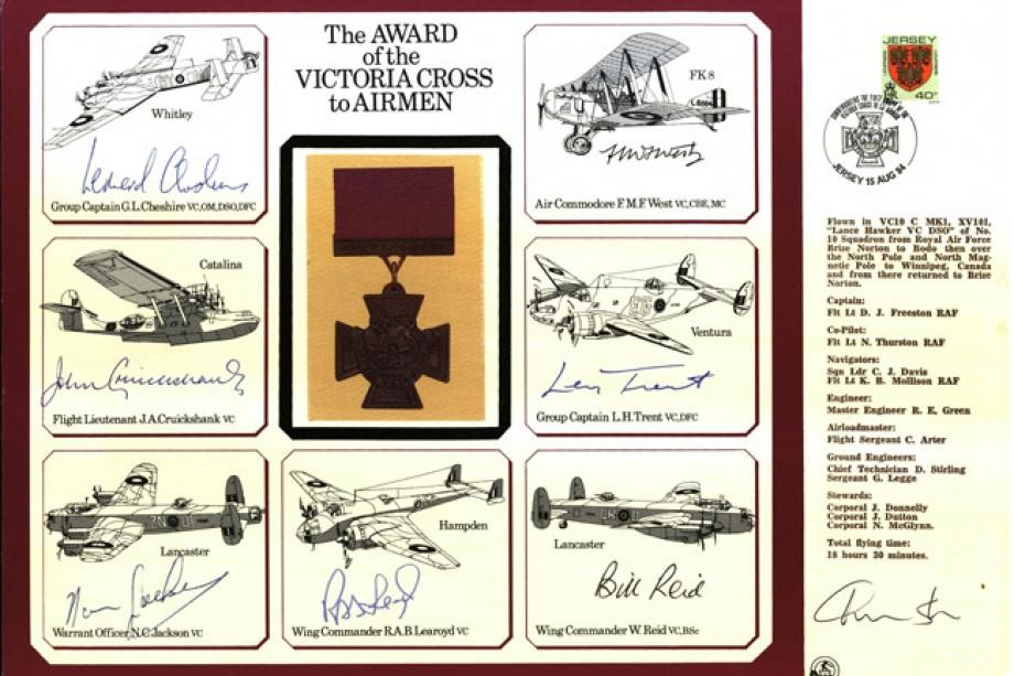 The Award of the Victoria Cross to Airmen. Large signed cover