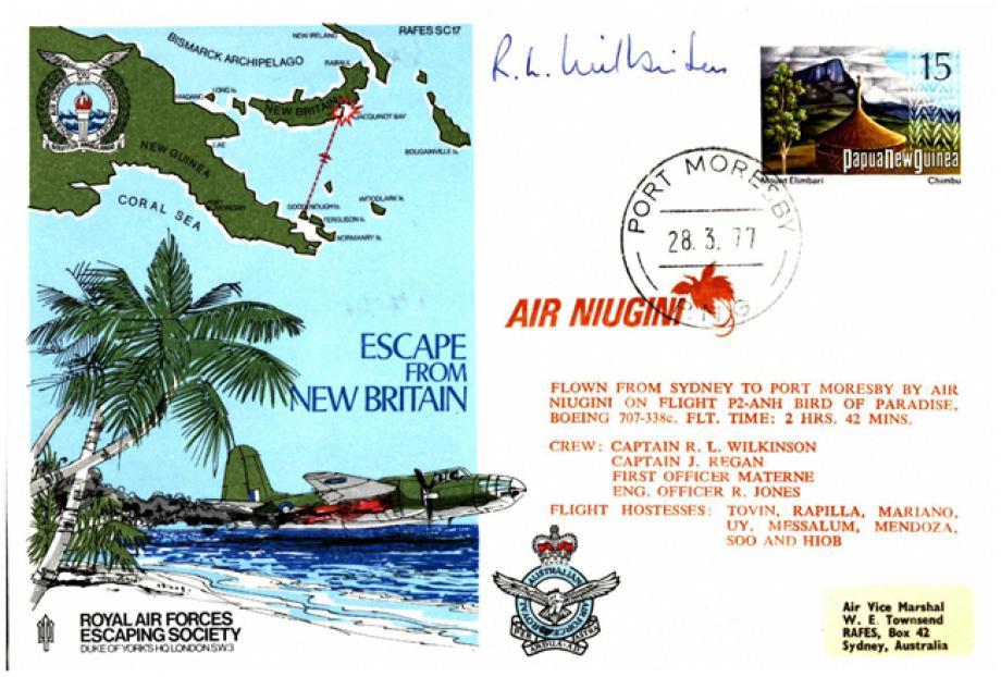 Escape From New Britain cover Sgd pilot R L Wilkinson