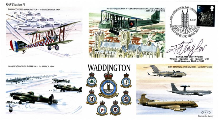 RAF Waddington cover Sgd Jim Taylor of 44 Sq