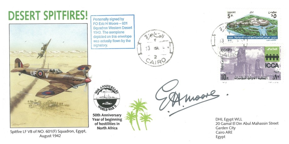 Desert Spitfires cover Signed by FO E H Moore of 601 Squadron Western Desert 1943