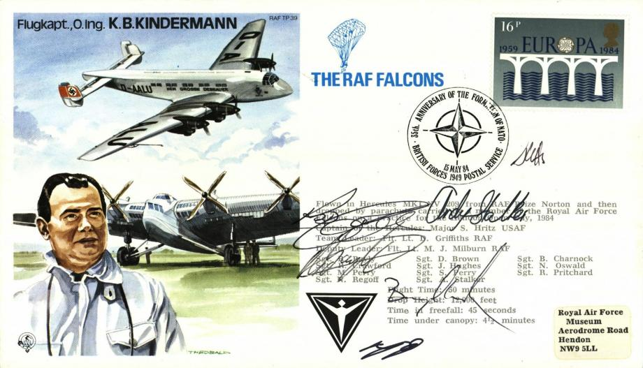 K B Kindermann the Test Pilot cover Sgd RAF Falcons members