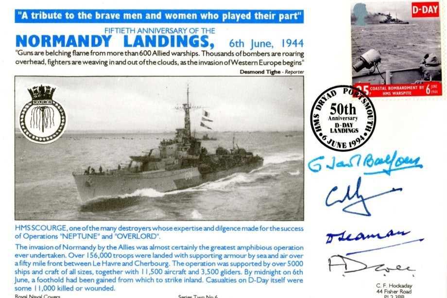 D Day cover Sgd Balfour Joly Seaman and Cole