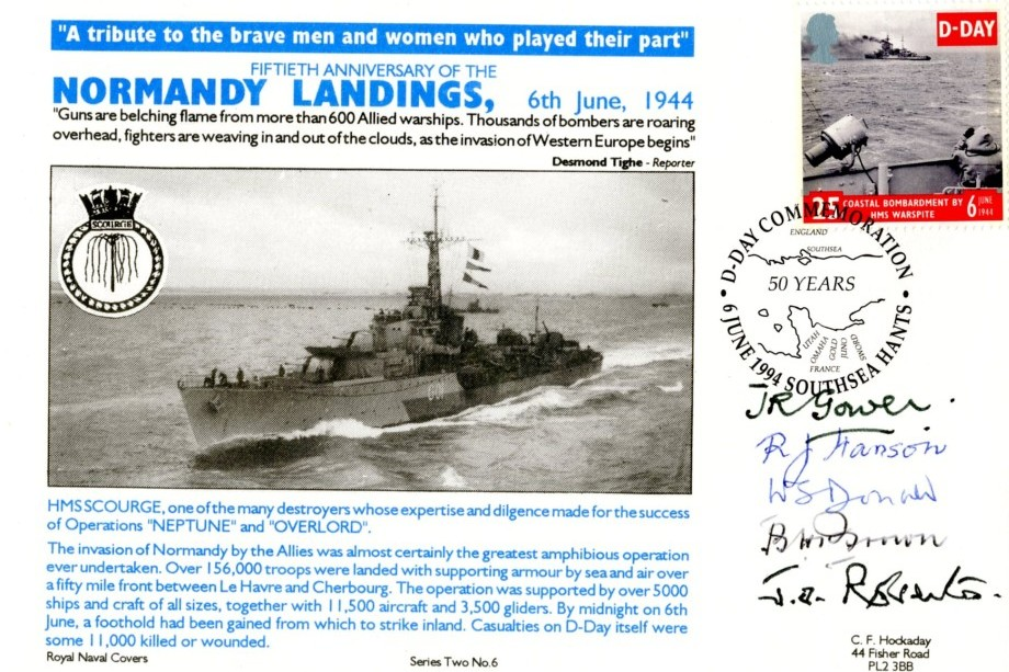 D Day cover Sgd Gower Hanson Donald Brown Roberts