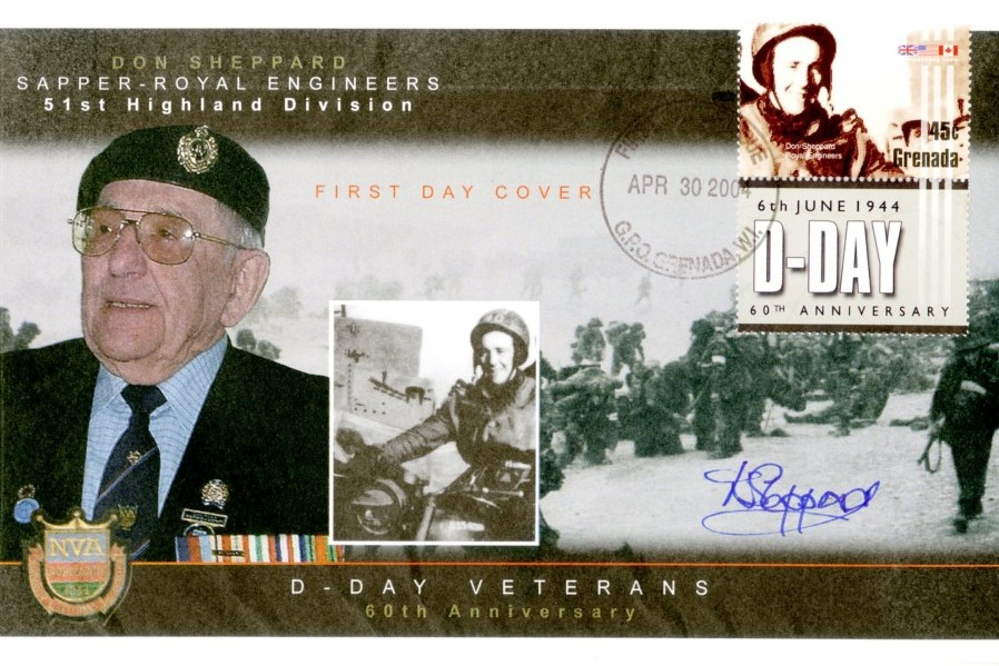 D Day cover Sgd by Don Sheppard