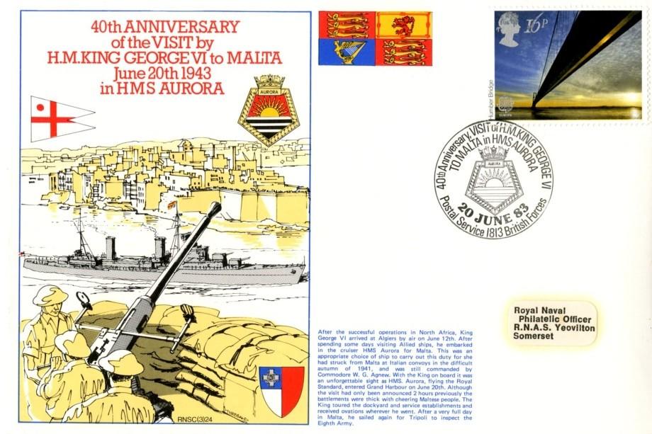King George VI to Malta in HMS Aurora cover