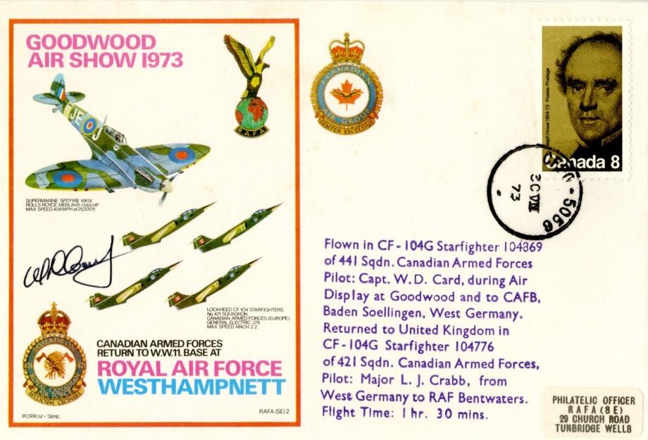 RAF Westhampnett cover Sgd pilot W D Card
