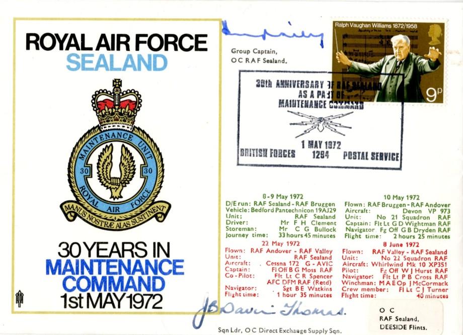 RAF Sealand cover Sgd OC of RAF Sealand