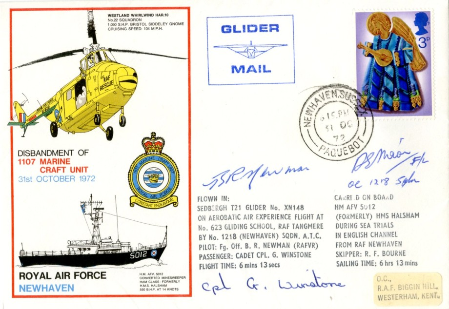 RAF Newhaven cover Sgd B R Newman G Winstone and the OC 1218 Sq
