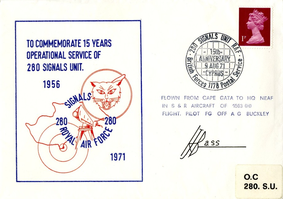 280 Signals Unit Royal Air Force cover Unknown Sig