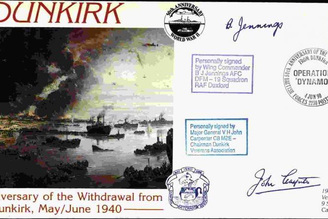 Dunkirk cover Sgd BoB pilot B C Jennings and V H John Carpenter