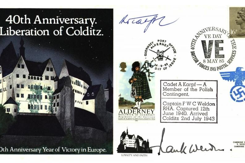 Colditz Cover Signed A Karpf And F Weldon