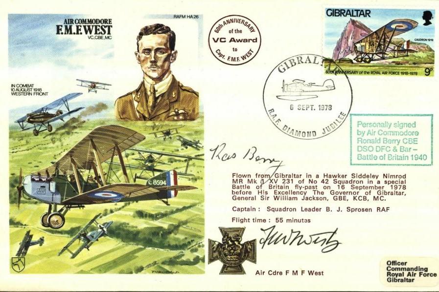 AC F.M.F West VC cover Sgd F M West and the BoB pilot 'Ras' Berry of 603 Sq