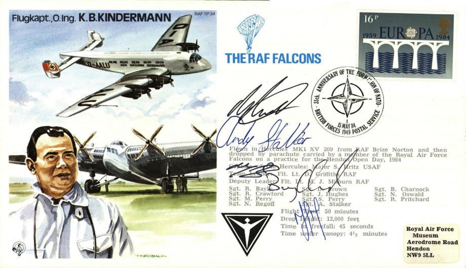 K B Kindermann the Test Pilot cover Sgd RAF Falcolns members