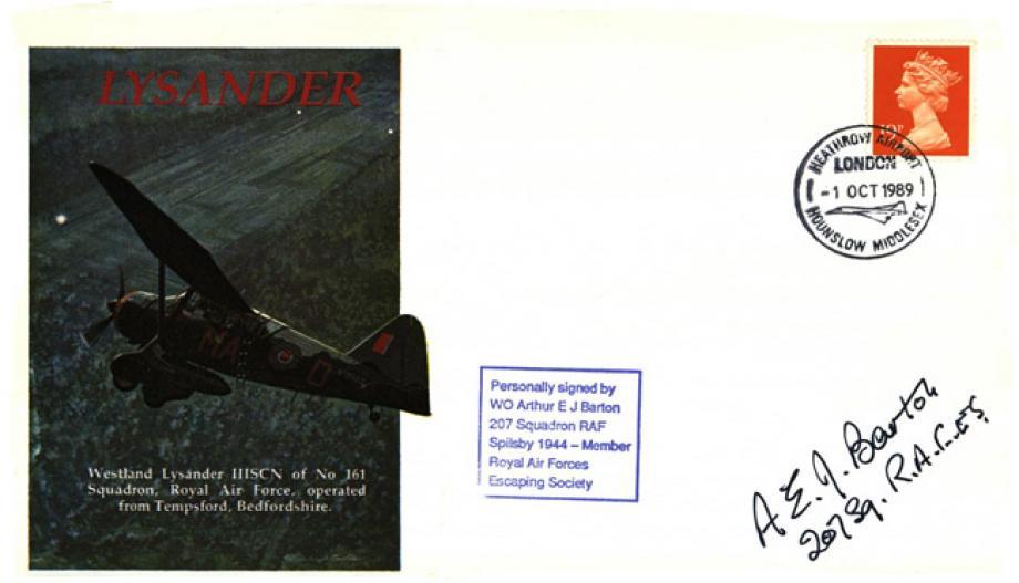 Lysander cover Sgd A E J Barton of 207 Sq