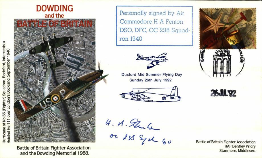 Battle of Britain Dowding cover Sgd H A Fenton a BoB Pilot