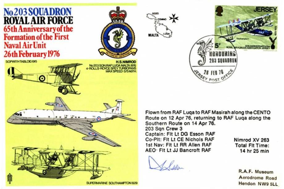 203 Squadron cover Pilot signed by Fl Lt D G Esson