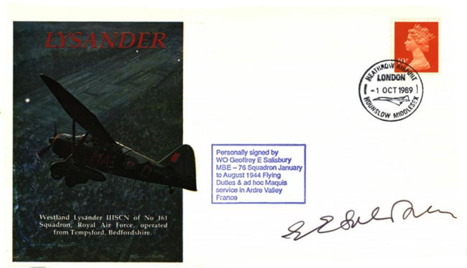 Lysander cover Sgd G E Salisbury of 76 Sq