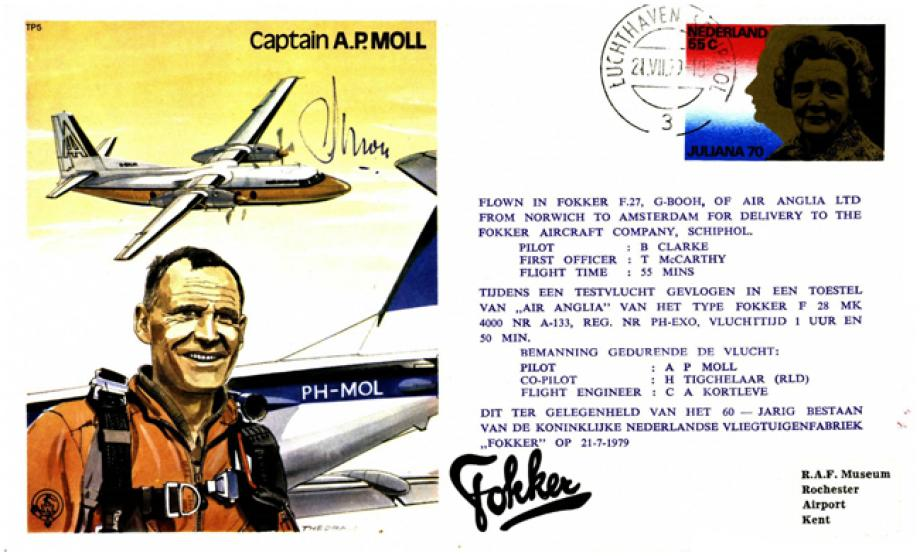 Captain A.P Moll the Test Pilot cover Sgd Captain A.P Moll
