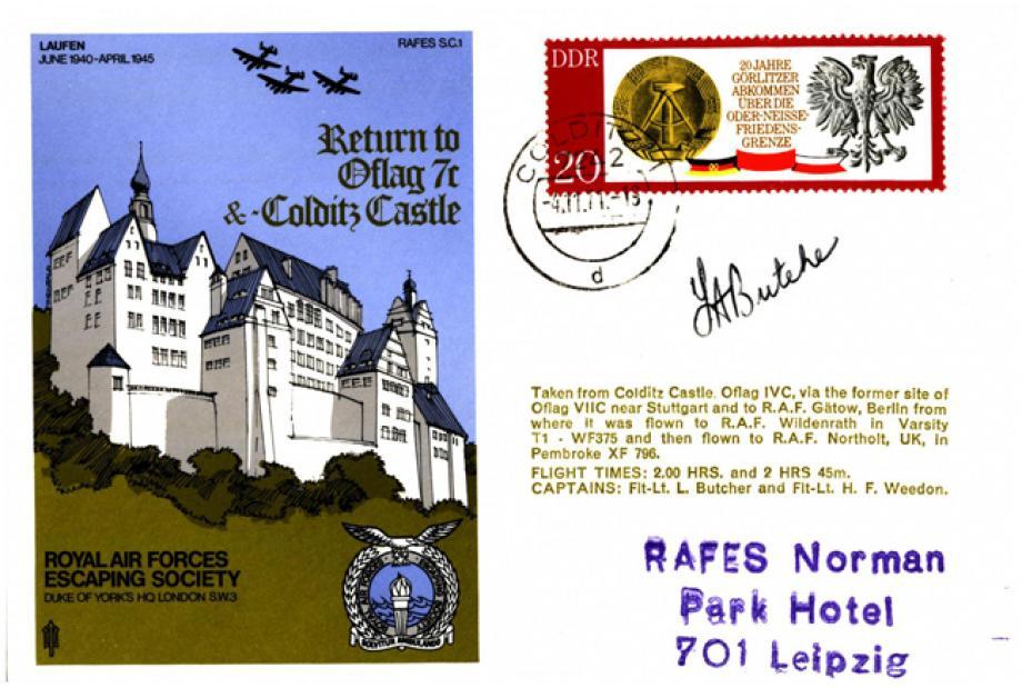 Oflag 7c and Colditz Castle cover Sgd pilot L Butcher