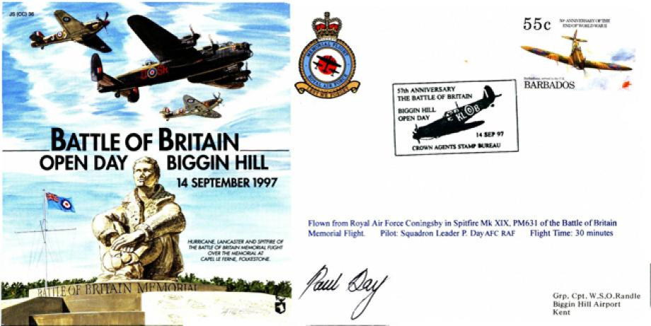 Battle of Britain Cover Signed P Day