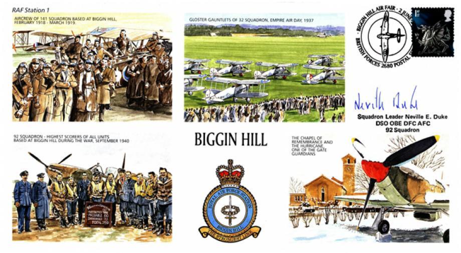 RAF Biggin Hill cover Sgd Neville Duke of 92 Sq