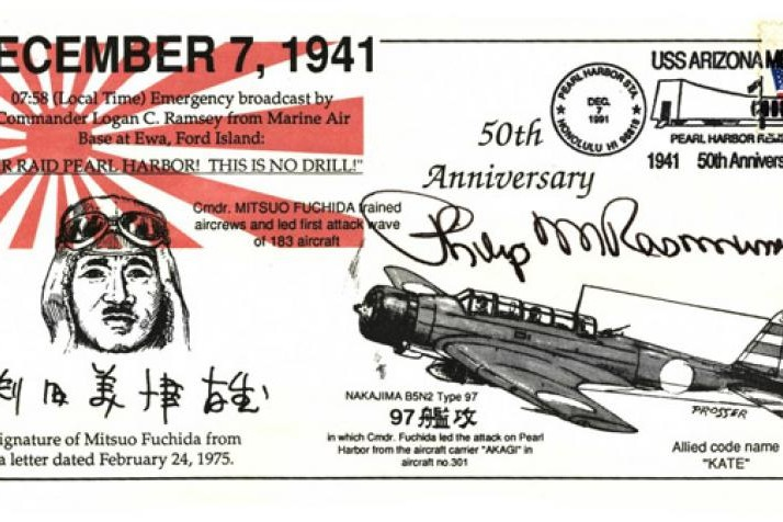 50th Anniversary Of Pearl Harbour Cover Signed P Rasmussen USAF