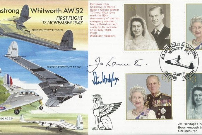 Armstrong Whitworth AW 52 Cover Signed J Lancaster And S Hodgkins
