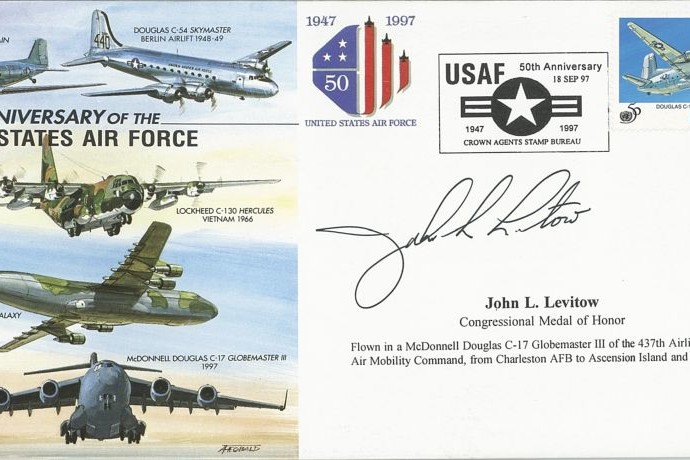 50th Anniversary of the USAF cover Sgd J L Levitow