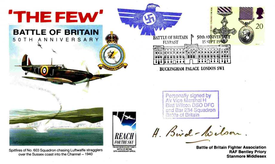 Battle Of Britain Cover Signed H Bird-Wilson A BoB Pilot